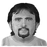 Authorities hunting a possible serial sniper in West Virginia released the sketch of a suspect seen in a pickup truck near convenience stores where two people were gunned down last week, police said on August 22, 2003. The sketch was based on accounts from witnesses at gas station convenience stores outside Charleston where Jeanie Patton, 31, and Okey Meadows, 26, were killed on Aug. 14.  Photo by Reuters (Handout)